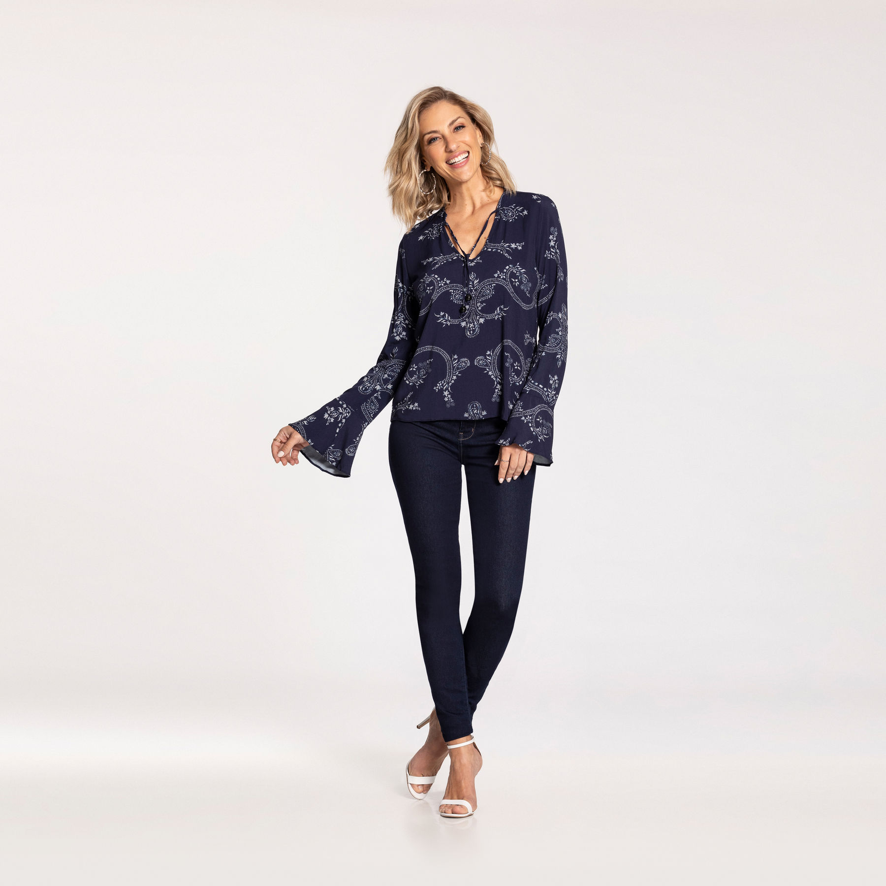 Blusa tecido azul Lunender
