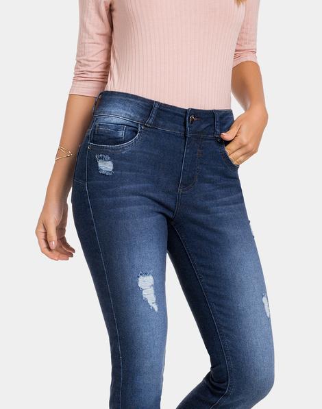 e30674826 Calça Jeans com Elastano Jeans Escuro