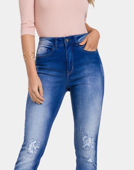 06f643ca6 Calça Jeans com Elastano Jeans Médio