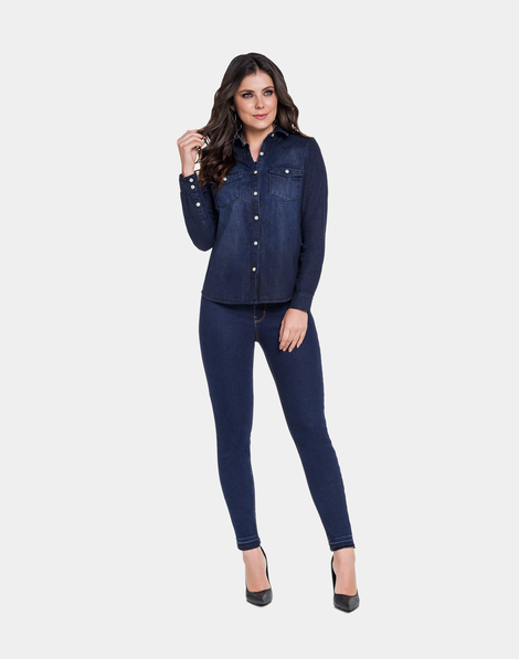 Camisa Jeans Jeans Escuro