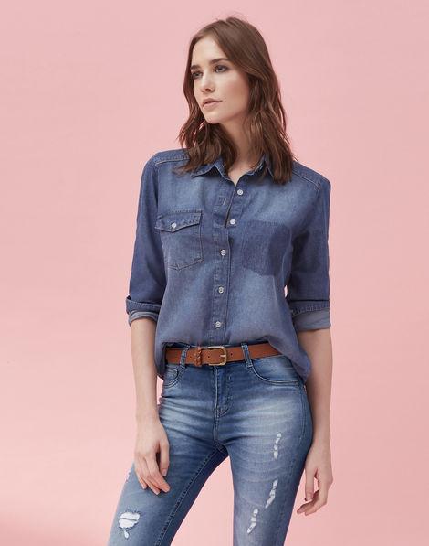 aeac6130cbca Camisa Manga Longa Jeans Médio