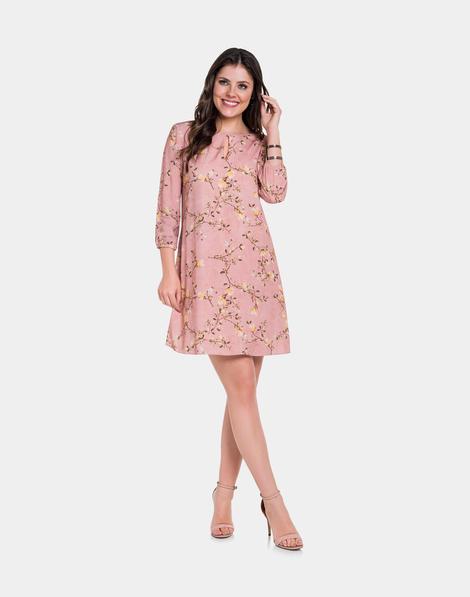 2db1d751d Vestido Tecido Rayon Bali Rosa Nostalgia